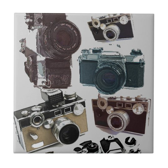Grunge photographer photography Vintage Camera Ceramic Tile