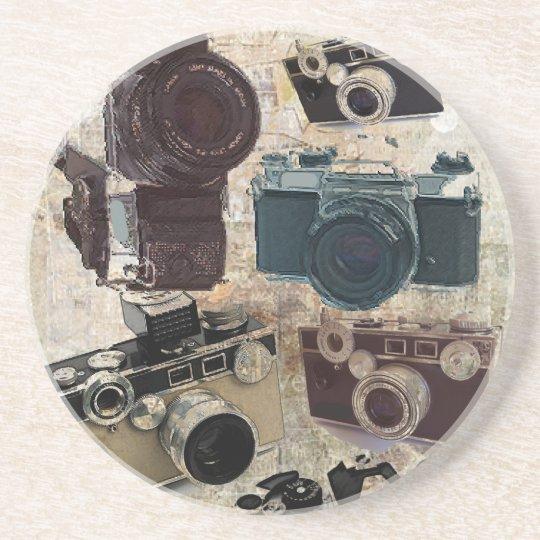 Grunge photographer photography Vintage Camera Drink Coaster