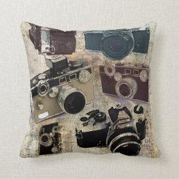 Grunge photographer photography Vintage Camera Throw Pillow