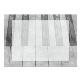 Grunge piano keyboard muted grey image card