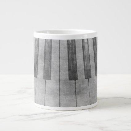Grunge piano keyboard muted grey image 20 oz large ceramic coffee mug