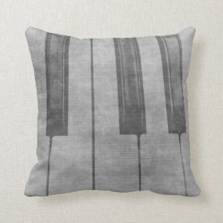 Grunge piano keyboard muted grey image throw pillow