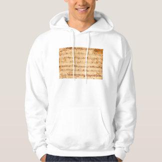 Grunge piano notes music sheet hoodie