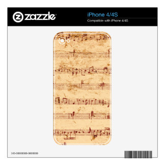 Grunge piano notes music sheet skins for iPhone 4S
