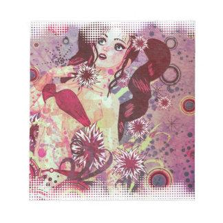 Grunge pink bikini girl on floral background notepad