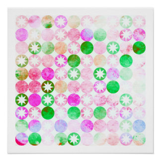 Grunge Pink & Green Dots with Star Bursts Poster