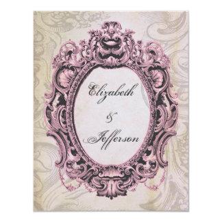 Grunge Pink Grey Vintage Frame Wedding Reply Card