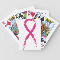 Grunge Pink Ribbon Bicycle Playing Cards