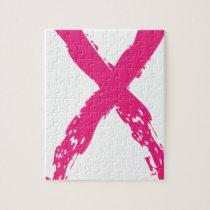 Grunge Pink Ribbon Jigsaw Puzzle