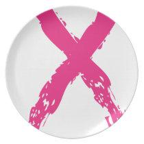 Grunge Pink Ribbon Melamine Plate