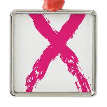 Grunge Pink Ribbon Metal Ornament