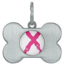 Grunge Pink Ribbon Pet Name Tag