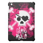Grunge Pink Skull Crossbones Girls Rule Cover For The iPad Mini
