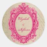 Grunge Pink Vintage Frame Monogrammed Stickers