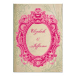 Grunge Pink Vintage Frame Wedding Invitations