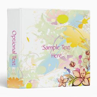 Grunge Pink Yellow Blue Floral Binder