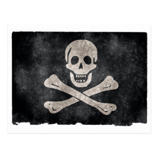 Grunge Pirate Flag Postcard