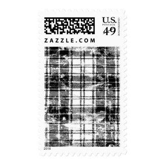 Grunge Plaid Postage Stamp