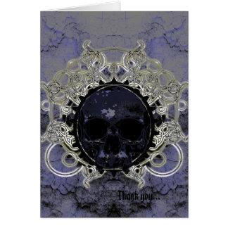 Grunge Plaster and Silver Skull Goth Wedding Card