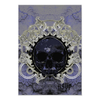 Grunge Plaster and Silver Skull Goth Wedding Card