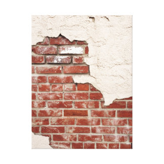 Grunge Plaster Brick Wall Stretched Canvas Print