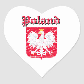 Grunge  Poland coat of arms designs Heart Sticker