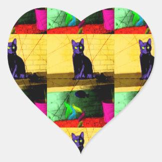 Grunge Pop Art Cat on Fish Tank Sticker