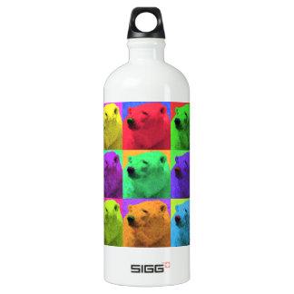 Grunge Pop Art Popart Polar Bear Closeup Colorful Aluminum Water Bottle