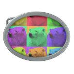 Grunge Pop Art Popart Polar Bear Closeup Colorful Oval Belt Buckles