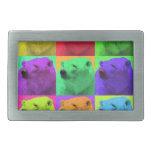 Grunge Pop Art Popart Polar Bear Closeup Colorful Rectangular Belt Buckles