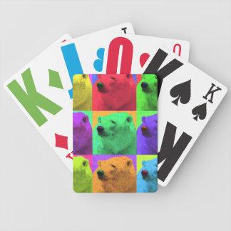 Grunge Pop Art Popart Polar Bear Closeup Colorful Bicycle Playing Cards