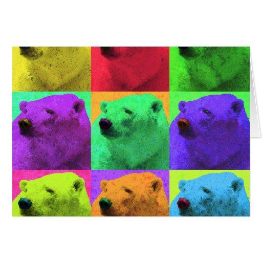 Grunge Pop Art Popart Polar Bear Closeup Colorful Cards