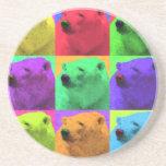 Grunge Pop Art Popart Polar Bear Closeup Colorful Coaster
