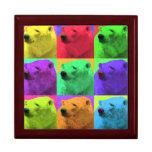 Grunge Pop Art Popart Polar Bear Closeup Colorful Jewelry Boxes