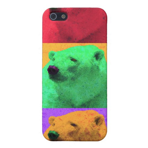 Grunge Pop Art Popart Polar Bear Closeup Colorful iPhone 5 Case