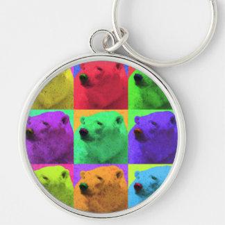 Grunge Pop Art Popart Polar Bear Closeup Colorful Keychain