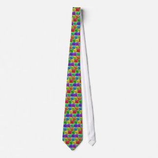 Grunge Pop Art Popart Polar Bear Closeup Colorful Neck Tie