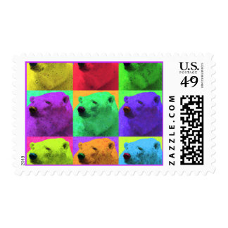 Grunge Pop Art Popart Polar Bear Closeup Colorful Stamps