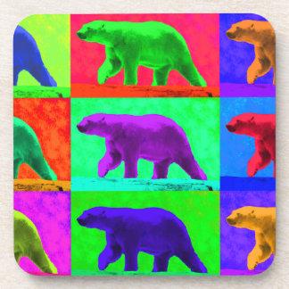Grunge Pop Art Popart Polar Bear Multi-Panel Beverage Coaster