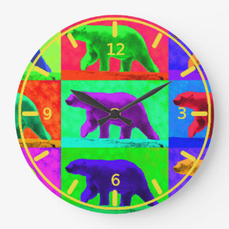 Grunge Pop Art Popart Polar Bear Multi-Panel Round Wall Clocks