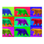 Grunge Pop Art Popart Polar Bear Multi-Panel Postcard