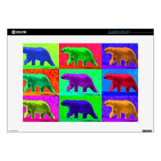 "Grunge Pop Art Popart Polar Bear Multi-Panel 15"" Laptop Skin"
