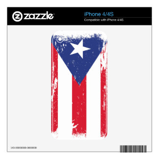 Grunge Puerto Rico Flag Decals For The iPhone 4