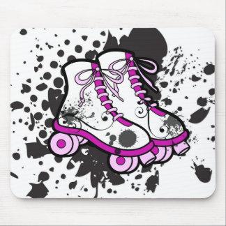 Grunge punk pink skates mouse pad