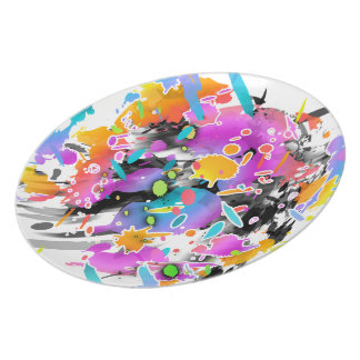 GRUNGE PUNK SPLATTER ART DINNER PLATE