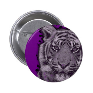 Grunge Purple Abstract Tiger Pinback Button