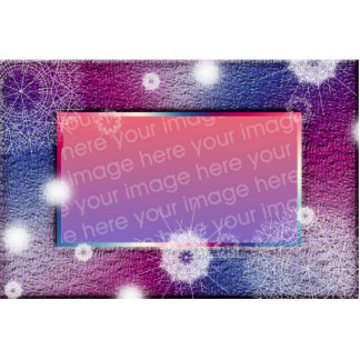 Grunge Purple and Blue snowflake picture frame Statuette