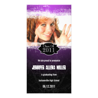 Grunge Purple Black Graduation Photo Card