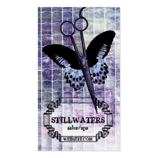 grunge purple butterfly scissors hair stylist spa business card templates