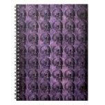 grunge Purple Skulls Spiral Note Book